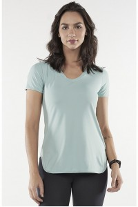 T-Shirt Alto Giro Skin Fit Alongada Gola V - 2031701 Verde Harbor