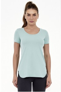T-Shirt Alongada Alto Giro Skin Fit Verde Harbor - 2031702