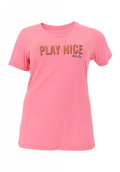 T-Shirt Alto Giro Plus Skin Fit Inspiracional Rosa Crush - 913702