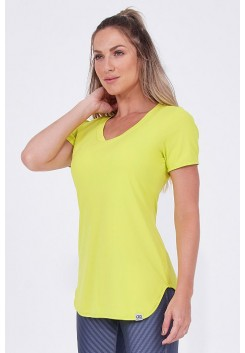 T-Shirt Alongada Alto Giro Skin Fit Amarelo Lemon - 931702