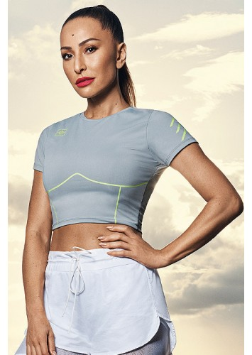 T-Shirt Cropped Alto Giro Light Moving Cinza  - 942702