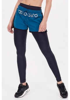 Calça Legging Com Short Alto Giro Supplex Verde Force - 922001