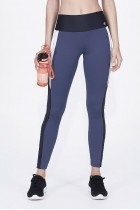 Calça Legging Alto Giro Body Tex Breeze Recortes e Laser Grafite Estelar - 932325