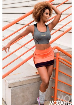 Short Saia Dusell Microlight Tela - Orange
