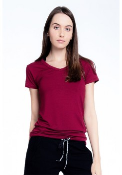 Blusa Rolamoça Alongada Viscose -01105 Bordo