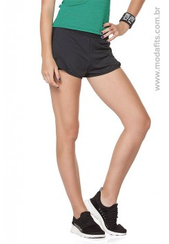 Short Rolamoça Duplo Ultracool Fit Preto 12166-PT